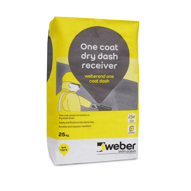 weberend one coat dash — pebbledash render mix for external walls and outside rendering