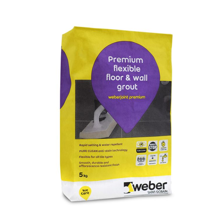 weberjoint premium — wall & floor tile grout for porcelain tile, available as a grey tile grout, white tile grout, black tile grout, and many more.