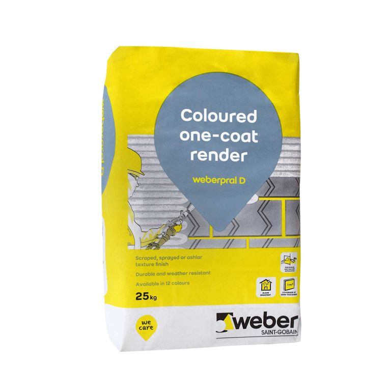 weberpral D — Weber monocouche render suitable for rendering outside wall in various external render finishes