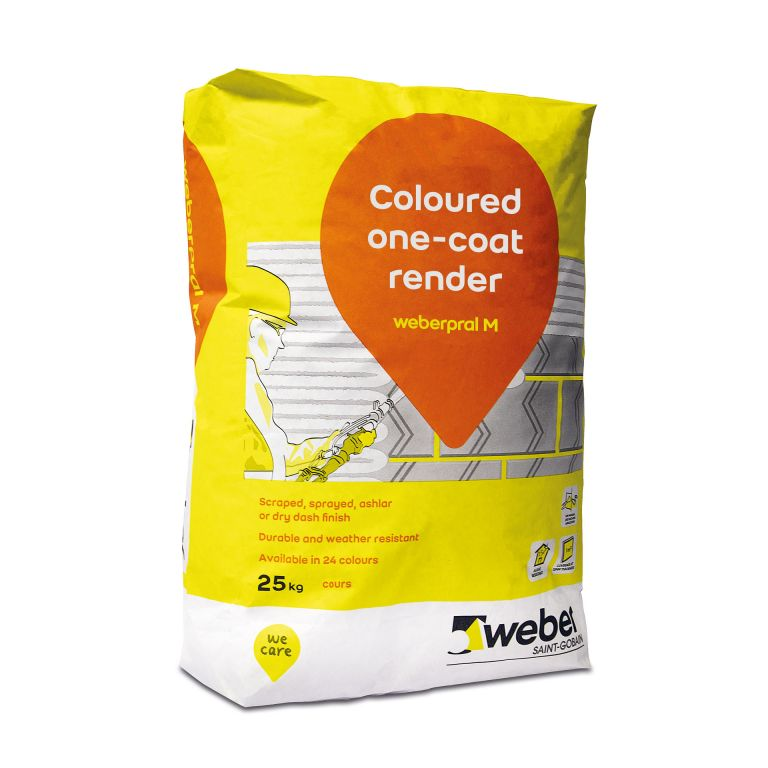 weberpral M — Weber monocouche render suitable for rendering outside wall in various external render finishes